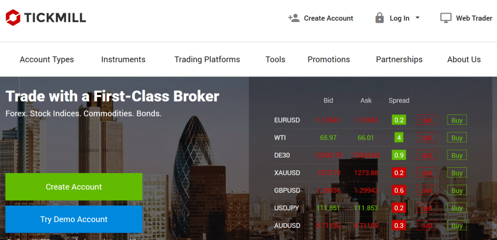 Tickmill Forex Broker Website