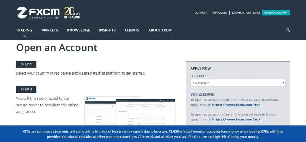 FXCM Account Types
