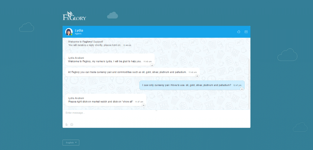 Live chat window during correspondence with the FxGlory manager.