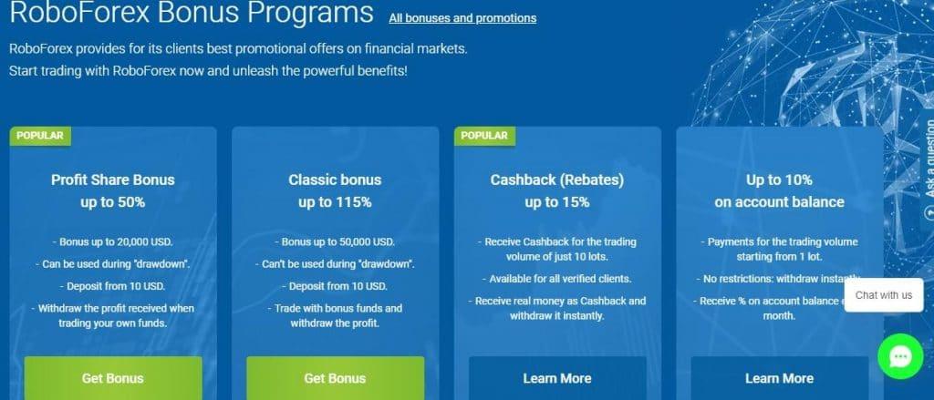 roboforex bonus programs