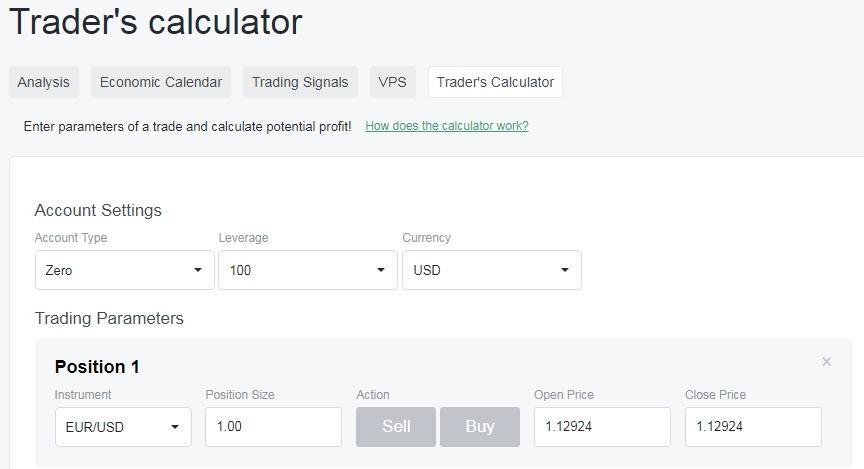 nordfx trader's calculator