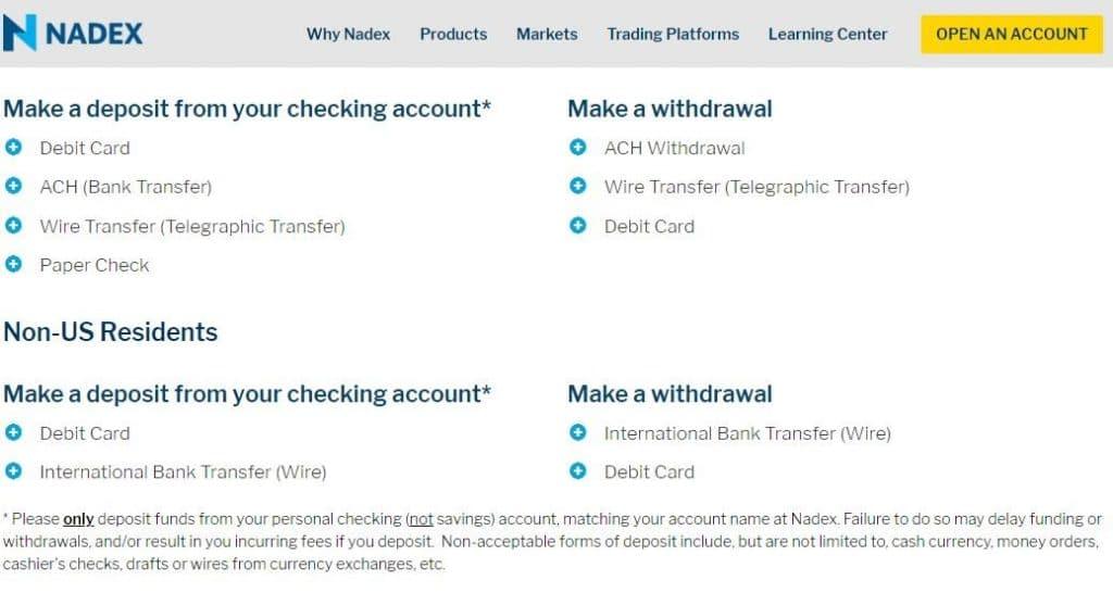 nadex stock exchange trades