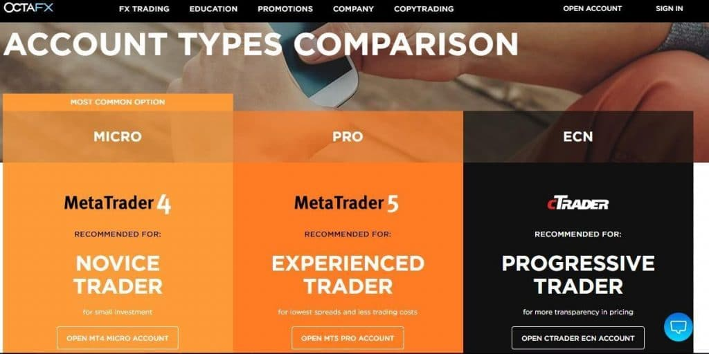 octafx broker account types