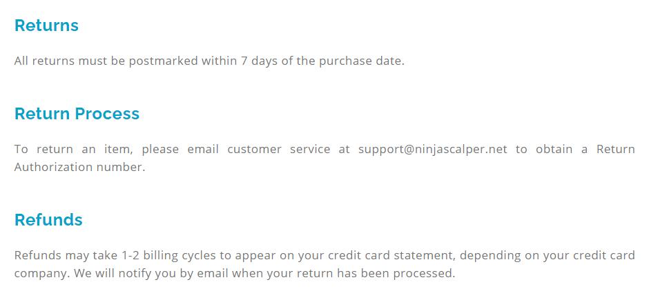 Ninja Scalper refunds