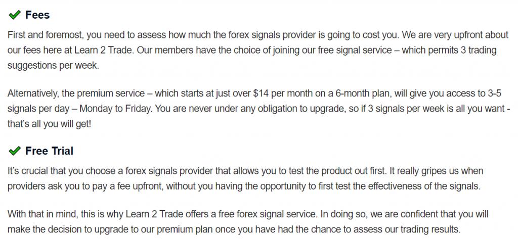 Learn 2 Trade fees
