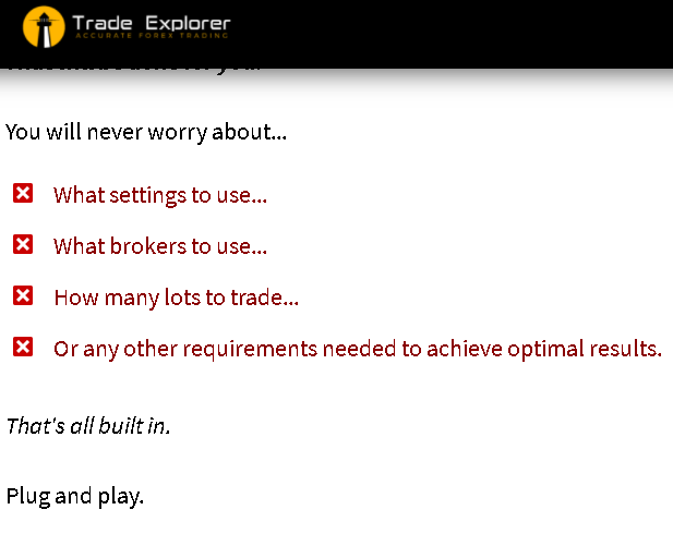 Trade Explorer settings