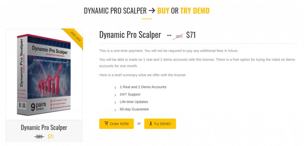 Dynamic Pro Scalper pricing