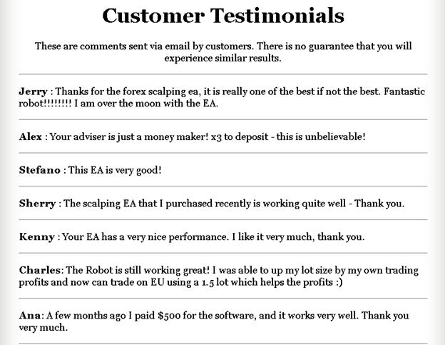 Forex Scalper EA Customer Reviews
