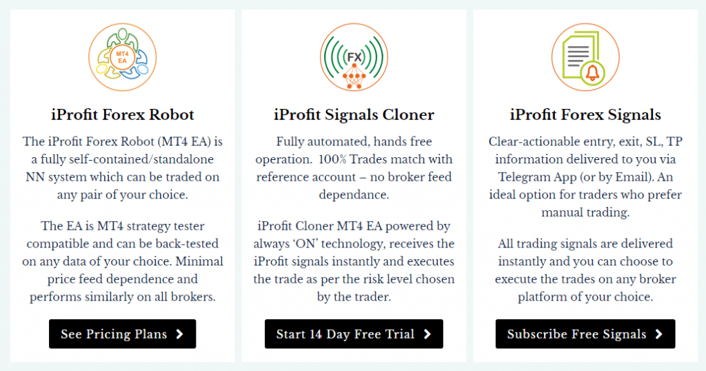 IProfit EA. We can buy the robot, copy trade from it or subscribe for signals.