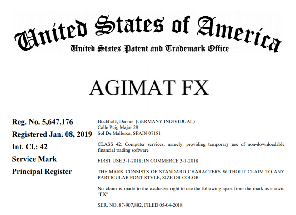 Agimat Trading System. The presentation starts with the statement with proof that the Indicator has a patent in the US.