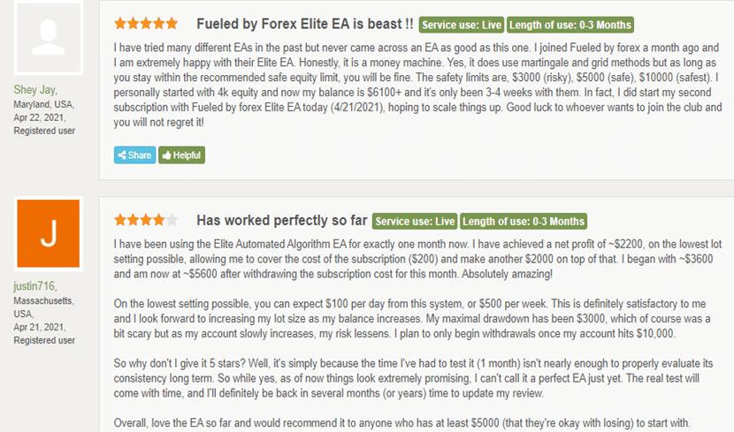 ELITE Automated Algorithm EA Customer Reviews
