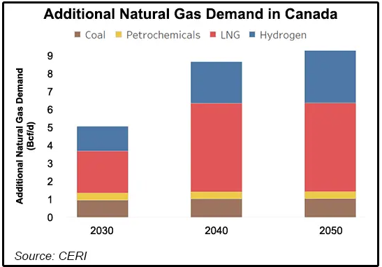 Projected demand for Natural gas and other fuels from 2030-2050