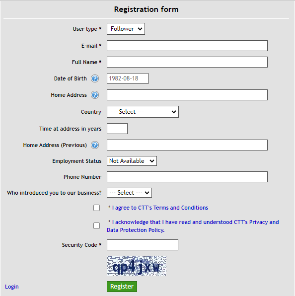 Sirius EA registration form