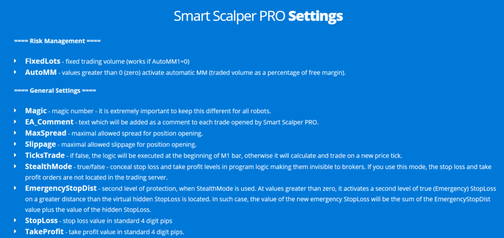 Smart Scalper Pro - settings