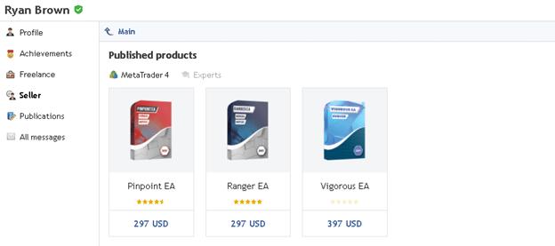 Vigorous EA page, Ryan Brown, the vendor of this EA