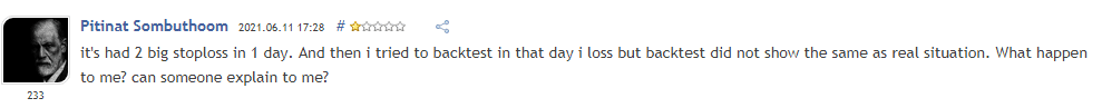Customer review found on mql5 website.