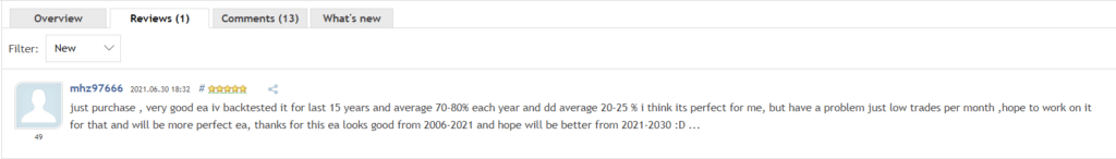User review for BlackQueen on MQL5.