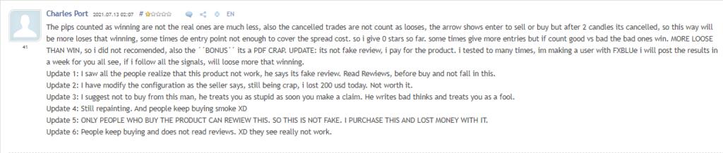 Negative customer review.
