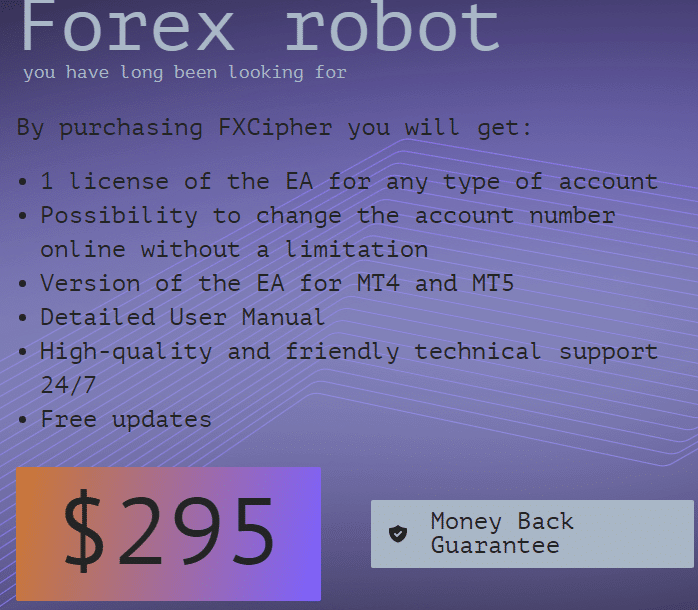 FXCIPHER's pricing plan.