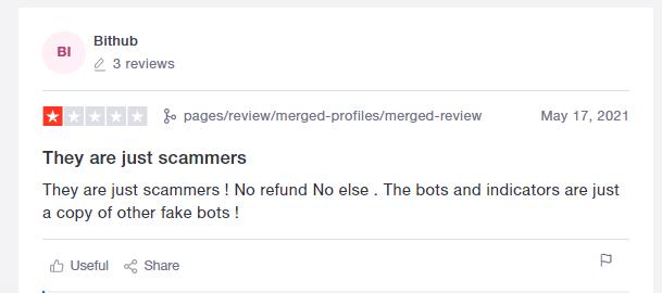 Customer review on TrustPilot.