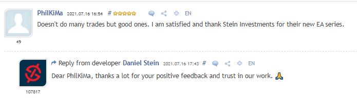 Customer review on MQL5.