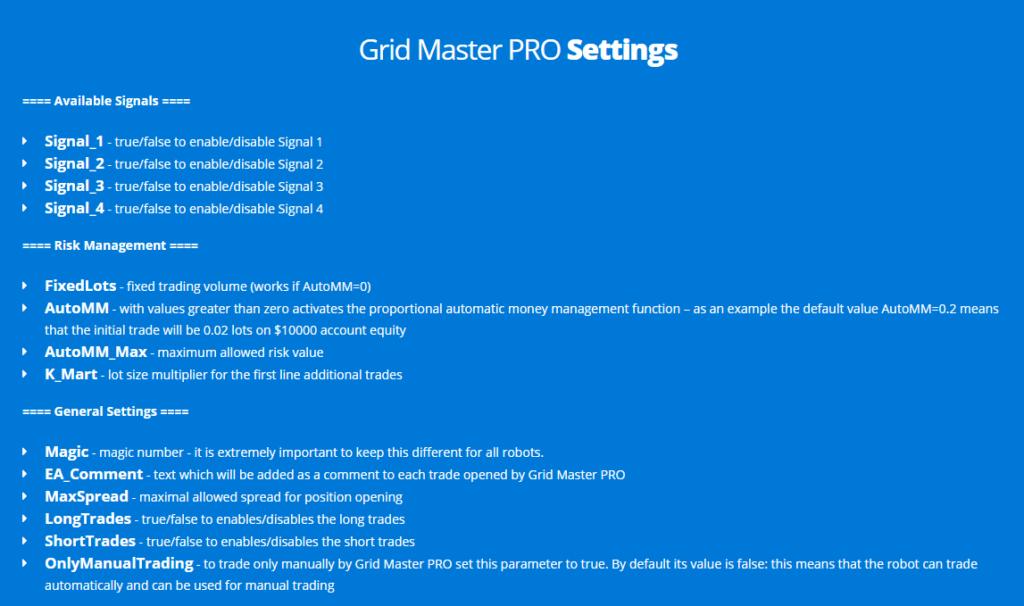 Grid Master Pro settings.