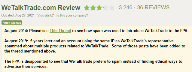 Report of spam from the company by Forex Peace Army site.